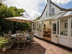 Sunny terrace and outdoor dining for eight