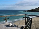 view of Porthmeor beach from Brantwood's balcony