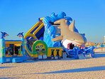 THE KIDS WILL ENJOY THE INFLATABLES ON CLEARWATER BEACH .