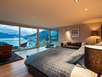 Mountain and lake views from bed
