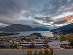 Sunset views from the master balcony overlooking Lake Wakatipu and Queenstown