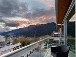 Sunset views from the master balcony towards the Skyline Gondola and Bob's Peak