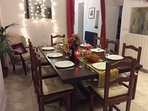 The large dining table seats 10 (12 with an extension)