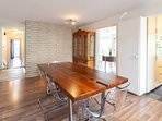 Large wood dining table with 6 chairs. Host your dinners here and make wonderful memories.