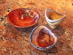 The owner Hal's beautiful handmade wood turning bowls