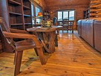 Enjoy an intimate meal at this beautiful wooden table.