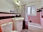 2 spotless bathrooms fully renovated in retro mid-century style, with good water pressure