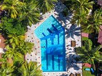 An aerial view of one of the swimming pools in the complex