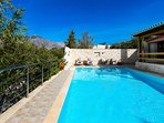 You will love the sun and blue sky above you, enjoying the private swimming pool
