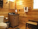 Bathroom with stand up shower and laundry