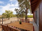 Patio table and chairs overlooking pasture and vineyards