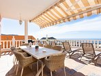 Terrace with dining table for 8 persons
