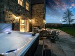 The Farmhouse - private hot tub and views across the countryside