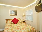 Second Bedroom with Queen Bed, Smart TV (Free NetFlix), lighted crown molding.