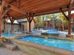 Relax and unwind in the outdoor heated pool & hot tubs