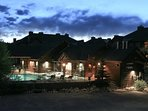 Trailhead Lodges clubhouse at night
