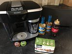 Espresso/Cappuccino machine.  Espresso pods and syrups provided. Best to use milk (nearby at Clarks)
