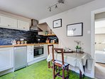 Bright kitchen with seating for two
