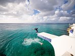 Take the plunge from the diving platform or take spiral stairs to the ocean for a more gentle entry