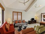 The expansive living area at the entrance of this 4BR villa in Goa
