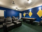 Private movie theater and pool table