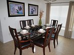 Formal dining with seating for 6 people.