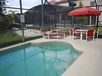 Sun deck and patio furniture.