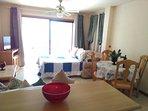 Vista desde la cocina, salón comedor, televisión, sillón cama.