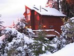 Snow at Paradise Pines Retreat, a private cozy cabin with Amazing Sunsets and Views