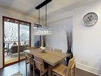 Dining table comfortably seats 6 guests