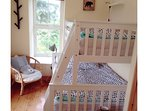Bedroom 2, single bed up high, double bed underneath, space for fll sized cot bed