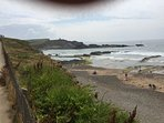 View of Bude sea pool and Summerleaze Beach
