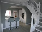 Open plan kitchen / dining / living room area.