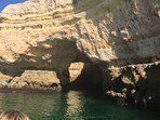 one of the many boat trips along the coast taking in the fascinating rocks and caves