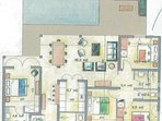 Plan de la villa 4 chambres