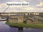A view of the island of Enniskillen with the apartment block shown.  The apartment is on the island.