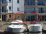 Close up of apartment from the water.