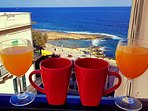 Breakfast in the balcony with nice sea view