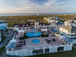 The Beach Club on the gulf side of the property with infinity edge pool, hot tub, children's pool