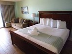 King size bed and Queen sleeper sofa.