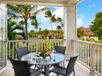 Enjoy the tropical breeze as you dine on the Lanai with sweeping views.