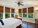 Second master suite with Tommy Bahama sleigh bed, ocean view, walk-in closet