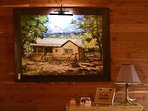 Custom artwork.  Oil on canvas painting of Dream Away Cabin