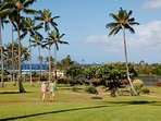 Short stroll down the greenbelt path to Poipu Beaches, park, shopping and restaurant