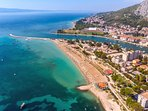 Center of Omiš just 6km away from apartment with all amenities and sandy beaches
