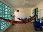 Patio with 2 hammocks and beach gear!