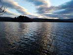 Loch Kinord at dusk. A circular walk of 4 miles round a loch. Beautiful views, take your camera.