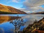 View of Loch Muick. Stunning views, drive here to start climb of Lochnagar. Circular 8 mile walk.