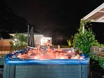 Hunter Moon's large outdoor spa perfect for groups