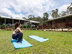 Yoga on the lawn.  Retreats welcome.